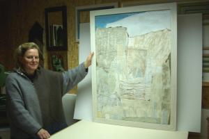 Stefanie-Blessing-mit-gefertigtem-Bild Rahmenkunst Käser Metzingen